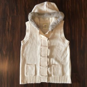 Old Navy Sweater Vest with Faux Fur Hood, Size XXL